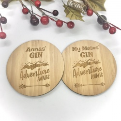 2 x Bamboo Coasters for Gin ''Adventure Awaits'' Personalised with your own words
