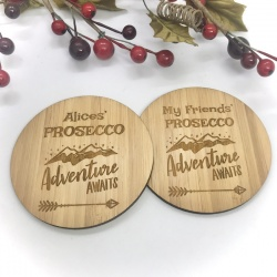 2 x Bamboo Coasters for Prosecco ''Adventure Awaits'' Personalised with your own words