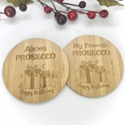 2 x Bamboo Coasters for Prosecco ''Happy Birthday'' Personalised with your own words