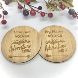 2 x Bamboo Coasters for Vodka ''Adventure Awaits'' Personalised with your own words