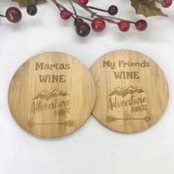 2 x Bamboo Coasters for Wine ''Adventure Awaits'' Personalised with your own words
