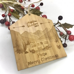 Camper Van Plaque in Bamboo ''Adventure Awaits & Merry Christmas'' Personalised with your own words