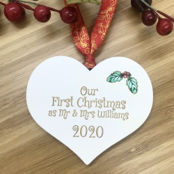 1 Merry Christmas Our First Christmas White Heart Bauble Personalised with your own words