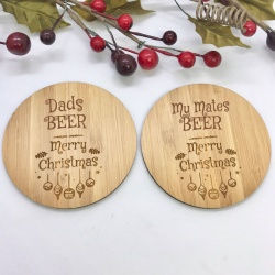 2 x Bamboo Coasters for Beer ''Merry Christmas'' Personalised with your own words