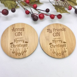 2 x Bamboo Coasters for Gin ''Merry Christmas'' Personalised with your own words