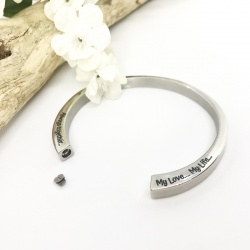 Cremation Ashes Urn Bangle Bracelet personalised with your own words or design