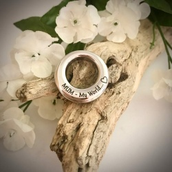 Cremation Ashes Urn Round Circle Shaped Pendent for keepsake, necklace or bracelet personalised with your own words or design