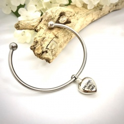 Cremation Ashes Urn Bangle Bracelet with Heart Charm personalised with your own words or design