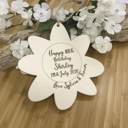Flower Shaped Cream Plaque Personalised with your own words