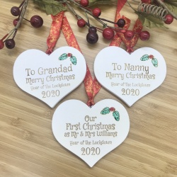 1 Lockdown Merry Christmas Set of Three White Heart Baubles Personalised with your own words