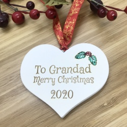 1 Merry Christmas Grandad White Heart Bauble Personalised with your own words