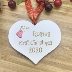 1 Merry Christmas Rosies First Christmas for babies White Heart Bauble Personalised with your own words