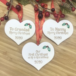 1 Merry Christmas Set of Three White Heart Baubles Personalised with your own words