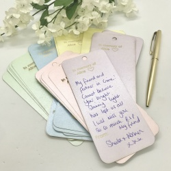 Personalised Note-lets for Remembering a loved one in 4 lovely pastel pearlised colours larger size