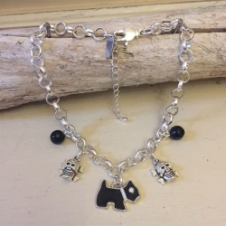 Personalised Dog Necklace JACK RUSSELL Design<br>Handmade with Silver-Plated Belcher Chain, Charms & Black Agate Gemstones