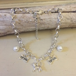 Personalised Dog Necklace POMERANIAN Design<br>Handmade with Silver-Plated Belcher Chain, Charms & Pearl Acrylic Beads