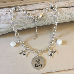 Personalised Dog Necklace TOY POODLE Design with Dog Name<br>Handmade with Silver-Plated Belcher Chain, Pet Name & Cluster Pearl Acrylic Beads