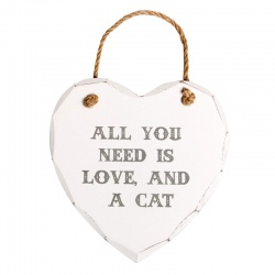 SASS & BELLE Sign Hanging Wooden Heart Sign 'All You Need Is Love And A Cat'