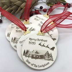 1 Lockdown Merry Christmas Set of Four Round Baubles with the Option to be Personalised