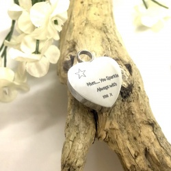 Cremation Ashes Urn Heart Shaped for keepsake, necklace or bracelet personalised with your own words or design