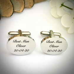 Wedding Cufflinks Oval Shaped personalised for weddings with BEST MAN
