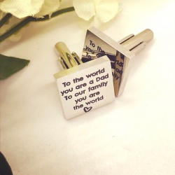 Square Shaped Cufflinks 'to the world you are a dad to our family you are the world'