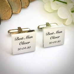 Wedding Cufflinks Square Shaped personalised for weddings with BEST MAN