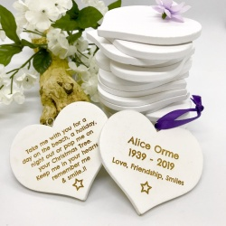Keepsakes Personalised Beautiful White Heart Keepsakes for Remembering loved ones BOTH sides engraved