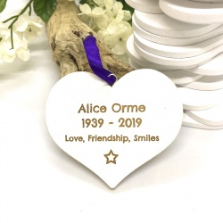 Keepsakes Personalised Beautiful White Heart Keepsakes for Remembering loved ones ONE side engraved