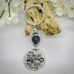 Personalised Keyring with Grey Shiny Bead Design - YOU HAVE GOT THE KEY TO MY HEART