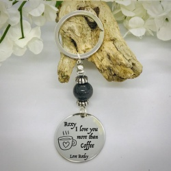 Personalised Keyring with Grey Shiny Bead Design - I LOVE YOU MORE THAN COFFEE