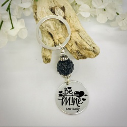 Personalised Keyring with Black Sparkle Bead Design - BE MINE