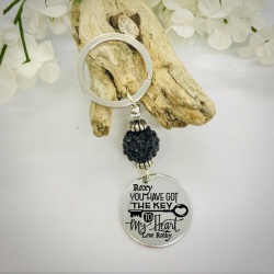 Personalised Keyring with Black Sparkle Bead Design - YOU HAVE GOT THE KEY TO MY HEART