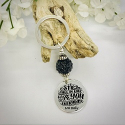 Personalised Keyring with Black Sparkle Bead Design - I STILL FALL IN LOVE WITH YOU EVERYDAY