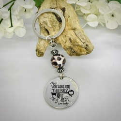 Personalised Keyring with Leopard Print Bead Design - YOU HAVE GOT THE KEY TO MY HEART