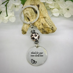 Personalised Keyring with Leopard Print Bead Design - CUTE HEARTS AND BLANK AREA FOR YOUR OWN MESSAGE