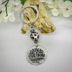 Personalised Keyring with Leopard Print Bead Design - I STILL FALL IN LOVE WITH YOU EVERYDAY