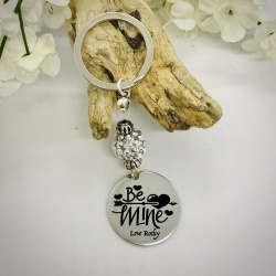 Personalised Keyring with Silver Sparkle Bead Design - BE MINE