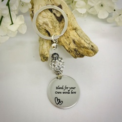 Personalised Keyring with Silver Sparkle Bead Design - CUTE HEARTS AND BLANK AREA FOR YOUR OWN MESSAGE