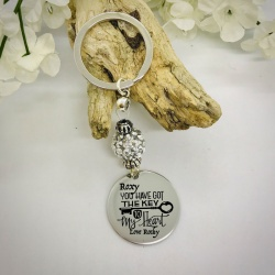 Personalised Keyring with Silver Sparkle Bead Design - YOU HAVE GOT THE KEY TO MY HEART