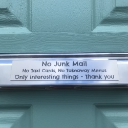 Metallic Stainless Steel Silver Coloured Plaque Personalised 15cm x 4cm Ideal for Letter Box 'No Junk Mail'