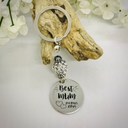 Personalised Keyring with Silver Sparkle Bead BEST MUM with CUTE HEARTS and NAMES