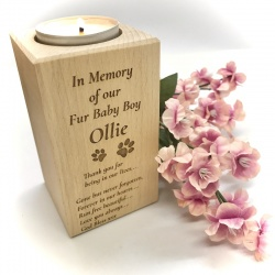 Personalised Wood Block Candle holder for your lost pet