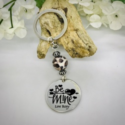 Personalised Keyring with Leopard Print Bead Design - BE MINE